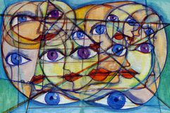 Many faces, eyes and shapes. Fine art abstract painting of multi dimensional faces and eyes within faces and shapes Stock Image