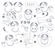 Many faces. Man s face with different elements of infographics vector illustration