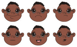 Many faces of negro baby boys with different emotions Royalty Free Stock Photography