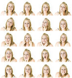 The many faces of a teenage girl Royalty Free Stock Photos