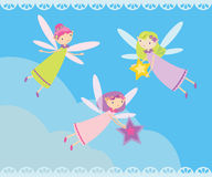 Many fairies flying. Vector illustration with many fairies flying Stock Photography