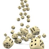 Many Falling 3D Dices - Casino Gambling. Perspectively Falling 3D Dices with Smooth Shadow on White Background vector illustration