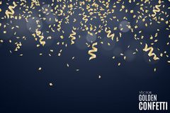 Many falling golden confetti and ribbons on a dark blue background. Festive New Year background. Place for your project. Christmas. Soft glare bokeh. Vector Stock Image
