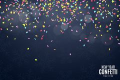 Many falling multicolored confetti on a dark blue background. Celebratory background on birthday. New Year and snowflakes. Glare b Stock Photography