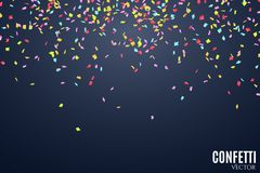 Many falling multicolored confetti on a dark blue background. Celebratory background on birthday. Place for your project. Vector. Illustration Stock Photo