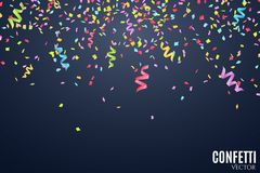 Many falling multicolored confetti and ribbons on a dark blue background. Celebratory background on birthday. Place for your proje. Ct. Vector illustration Royalty Free Stock Photos