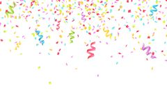 Many falling multicolored confetti and ribbons isolated on white background. Celebratory background on birthday. Place for your pr Stock Image