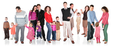Many family with children group isolated. Many family with children group on white isolated stock images