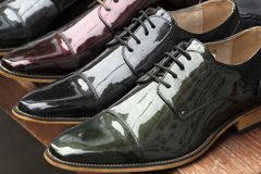 Many fashion formal man leather shoes. For sale royalty free stock image