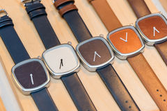 Many  fashion watches on the store. Background Stock Photo