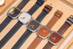Many  fashion watches on the store. Background Stock Images