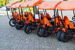 Many fashionable orange four-wheeled sports bicycles, cycle cards for family sports recreation and tourism with a wheel and pedals. Parked in the autumn park royalty free stock photo