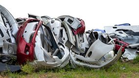 Isolate pile of bumper cars from the garage royalty free stock images