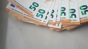Many fifty euro banknotes. Background stock footage