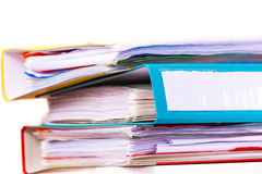 Many file folders, ring binders on office table Royalty Free Stock Photo