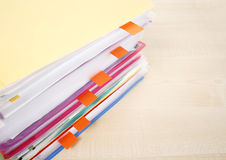 Many files and sticky notes Royalty Free Stock Image