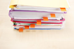 Many files and sticky notes Stock Photography