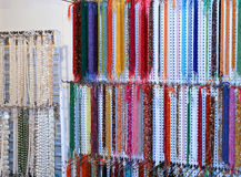 Many fine necklace for sale in the shop of jewellery and costume Stock Photos