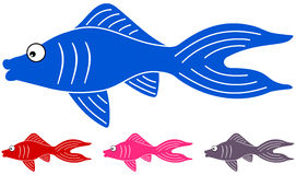 Many fishes of different colors stock illustration