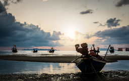 Many fishing boat in the sea Stock Image