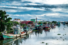 Many fishing boats docked in the canal Royalty Free Stock Image