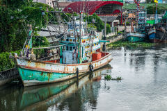 Many fishing boats docked. In the canal Royalty Free Stock Photography