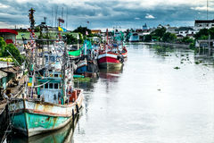 Many fishing boats docked. In the canal Royalty Free Stock Photo