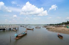 Many fishing boats parked on the beach. At Laem Sai, Trang Province, south of Thailand Stock Photography