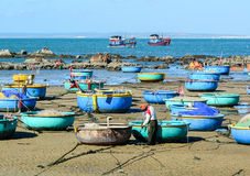 Many fishing boats at pier in Vinh Hy, Vietnam Royalty Free Stock Photography