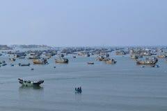 Many fishing boats in Vietnam fishing village Royalty Free Stock Image
