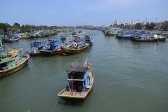 Many fishing boats in Vietnam fishing village Royalty Free Stock Photos
