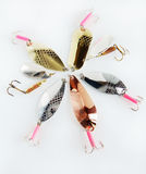 Many fishing lures on light background Stock Photography