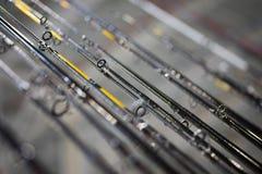 Many fishing rods royalty free stock photos
