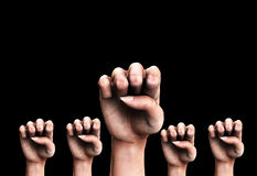 Many Fists 2. A conceptual image of a set of identical symbolic fists that could represent the concepts of aggression or power Stock Image
