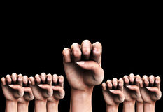 Many Fists 3. A conceptual image of a set of identical symbolic fists that could represent the concepts of aggression or power Royalty Free Stock Photo