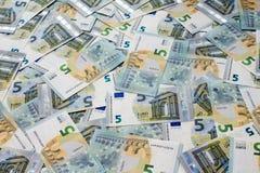 Many of five euro banknotes Royalty Free Stock Photos