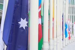 Many flag prepare to top of post Stock Photo
