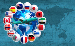 Many flags around the globe and a plane Stock Image