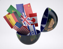Many flags come out of the open earth Stock Photography