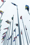 Many flags of countries with poles Royalty Free Stock Photo