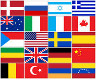 Many flags of different countries Stock Photo