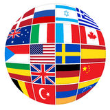Many flags of different countries Stock Images