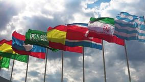 Flags of different countries waving stock video footage