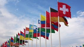 Flags of different countries waving
