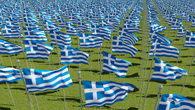 Many flags of Greece waving on wind Stock Image