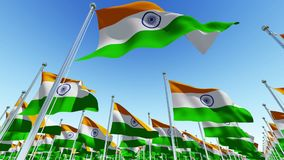 Many Flags of India on flag poles stock video footage