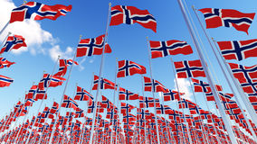 Many flags of Norway on flagpoles against blue sky. Three dimensional rendering illustration. 3D Stock Photos