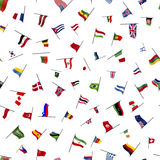 Many flags on a pole on white, seamless pattern Stock Images