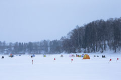 Many flags and tents on the snow-covered field near the forest Royalty Free Stock Photography