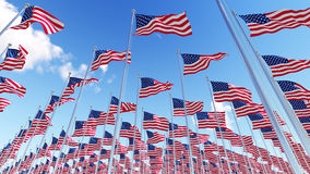 Many flags of USA on flagpoles against blue sky. Royalty Free Stock Images